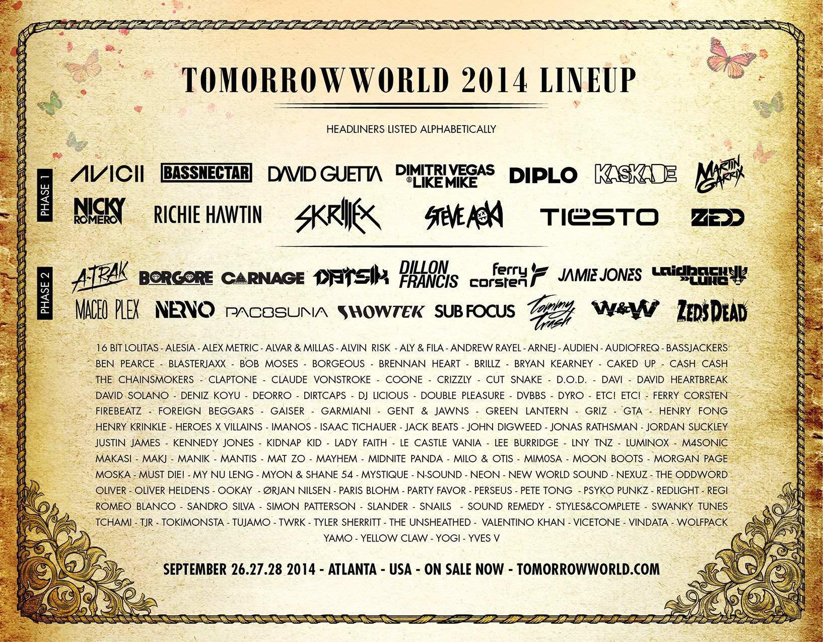 ¡Lineup Tomorrowland 2014!