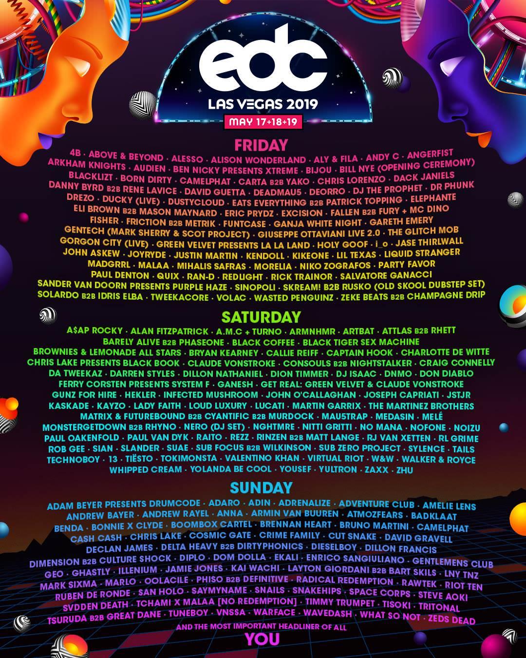 Lineup EDC Las Vegas 2019